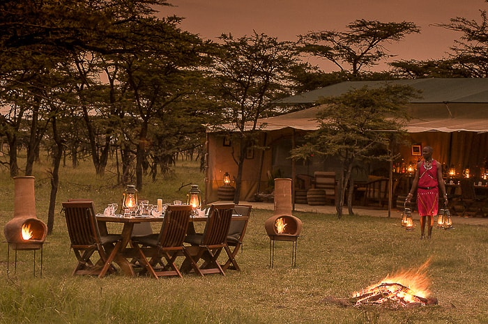 Outside dining in the masai mara.
