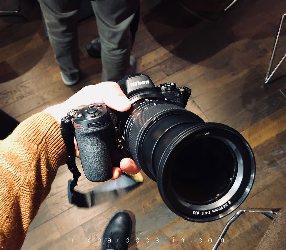 The Nikon Z7 mirrorless camera held by wildlife photographer Richard Costin